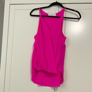 NWOT Amanda Uprichard hot pink silk tank top small